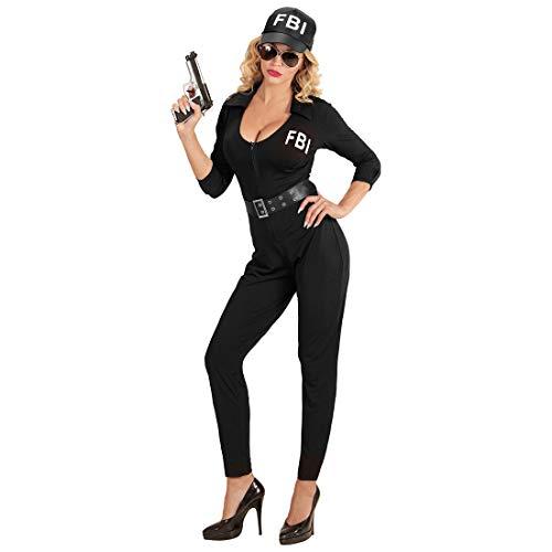Amakando Verführerisches Agenten-Kostüm für Frauen / Schwarz S (34/36) / Reizvolles Polizistin-Outfit FBI-Agentin / EIN Blickfang zu Fasching & Karneval