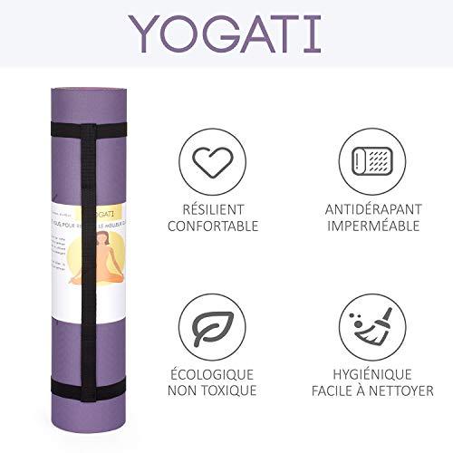 YOGATI - Tapis de Yoga Antidérapant, Epais, Ecologique et Non Toxique en TPE avec des repères d'alignement du Corps. Un Tapis Yoga pour Adultes et Enfants Parfait pour Sport au Sol, Gym et Fitness