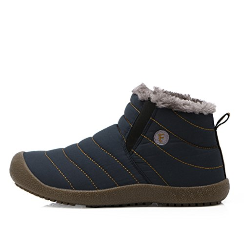 SITAILE Homme Chaussures de Randonnée Bottes iver Neige Cheville Boots Chaudes Fourrure Antidérapage Bleu foncé