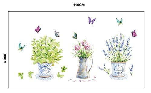 Ufengke belle piante in vaso e farfalle adesivi murali - Piante da camera da letto ...