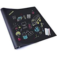 Rabbitgoo® Vinyl Blackboard Chalk Board Sticker Self Adhesive Wall Paper Contact Paper Wrapping Paper 44.5 x 200CM For Home, Child Room, School & Office, Bar, Shop with 5 FREE Regular Chalk Sticks