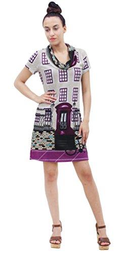 Purplish London -  Vestito  - linea ad a - Donna Grau