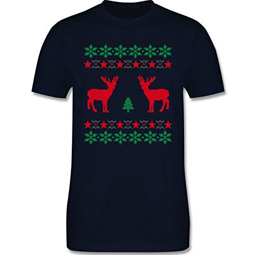 Weihnachten & Silvester - Norweger Pixel Rentier Weihnachten - Herren Premium T-Shirt Navy Blau