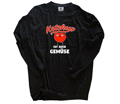 Shirtzshop Ketchup ist auch Gemüse Grill BBQ Fun Longsleeve-T-Shirt Schwarz L -