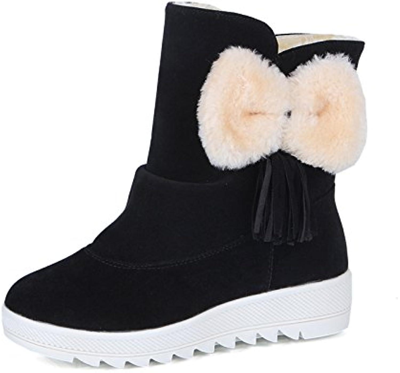 1a257a76d4b Gaslinyuan 26631 Bowknot Shoes Boots Women Fur Parent Lined Tassel Ankle  Flat Winter Shoes (Color   Black
