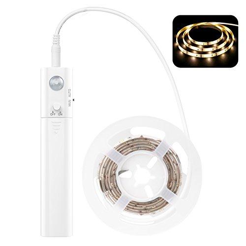 MoKo Nocturna LED Lámpara, 1M 30 LED Flexible con el Sensor de Movimiento, Luz de Noche Elegante Impermeable para Armario, Cocina, Dormitorio, Sótano, Corredor, Escalera - Blanco Cálido