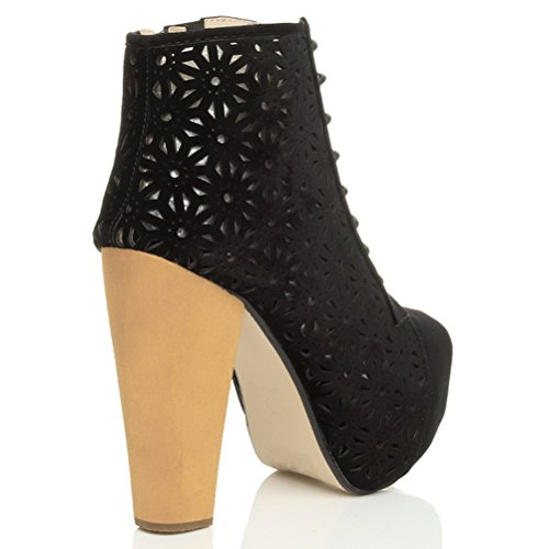 Damen Schnüren Klobig Block Sehr Hoher Holzabsatz Plateau Stiefeletten Größe Schwarz Wildleder mit perforiertem Muster