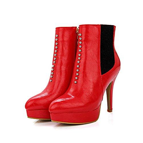Voguezone009 Femme Plate-forme Fermeture Étroite Fermeture Éclair Pur Bottes Rouge