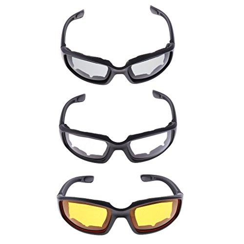 Unbekannt 3X Motorrad Staubdicht Reitbrille Rauch Klar Gelb Gepolsterte Komfortabel