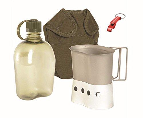 BPA freie Feldflasche SET + Becher + Hülle + Stand + AOS-Outdoor® Flaschenöffner