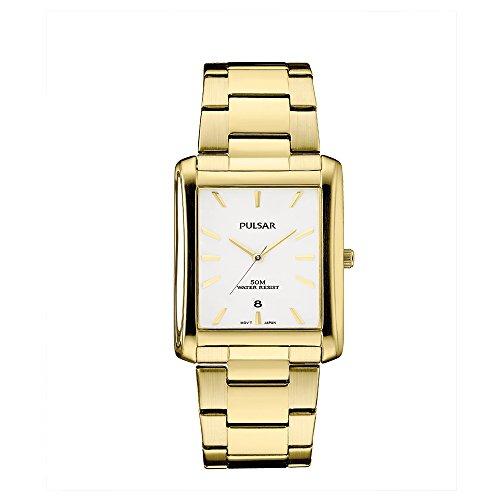Pulsar pg8268Unisex tono de oro pulsera de acero inoxidable banda Preal cuarzo dial reloj