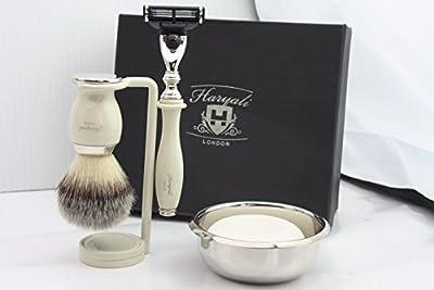 Premium Shaving Kit Gift for Men(Gillette Mach 3 razor,Brush,Bowl,Stand)Branded Box