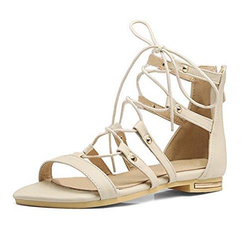 Sandales femmes chaussure été à lacet zippé arrière en simili cuir Beige