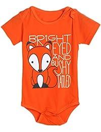 Longra Trajes del mono del mameluco de la impresión de la letra del Fox de las muchachas de los bebés