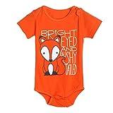 Longra Trajes del mono del mameluco de la impresión de la letra del Fox de las muchachas de los bebés (80, naranja)