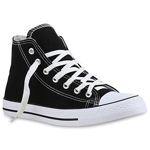 Damen Herren Unisex Sneaker High Schnürer Denim Sneakers Camouflage Sportschuhe Turnschuhe Glitzer Stoff Schuhe Übergrößen Flandell Schwarz Brooklyn