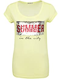 Stitch & Soul Damen Shirt mit Wendepailletten und Print Summer | Basic T-Shirt IM Vintage-Look