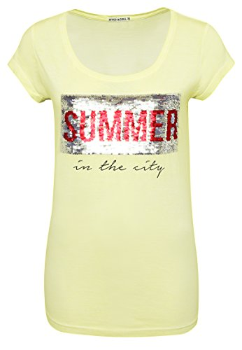Stitch & Soul Damen Shirt mit Wendepailletten und Print Summer | Basic T-Shirt im Vintage-Look Yellow XS (Ändern Gelben T-shirt)