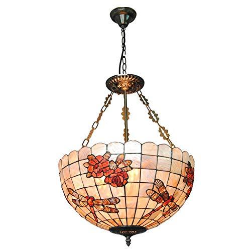 Traditionelle mehrfarbige Glas Kronleuchter Antik Tiffany-Stil Decke Anhänger Leuchten hängen 18-Zoll-Schatten, Vintage romantische Glasmalerei Anhänger Beleuchtung UL gelistet (Anhänger Glas Beleuchtung Schatten)