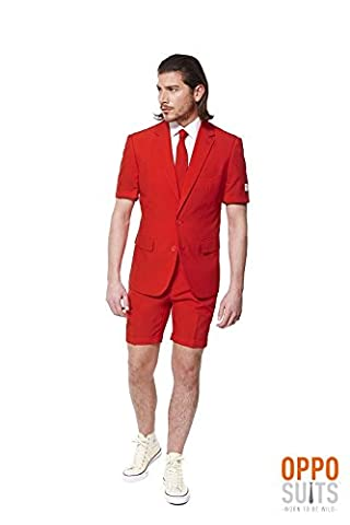Red Devil Roter Anzug Summersuit Opposuit Premium 3-teilig Gr. 52 (Frauen Red Devil Kostüm)