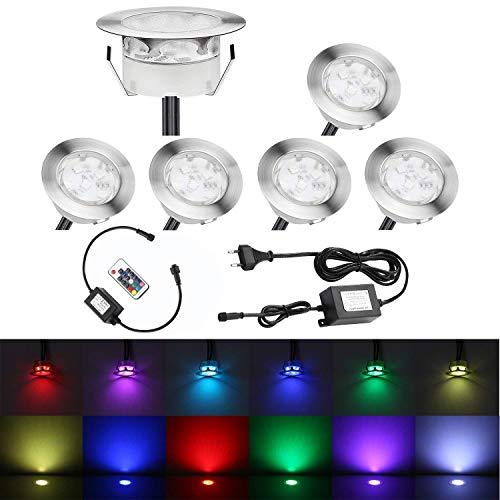 QACA 6er LED Einbauleuchten Bodeneinbaustrahler RGB Deckenspot Einbaustrahler Deckenleuchte Wasserdicht IP67 Einbaulampe 0, 3W ~ 1W Ø60mm Außenleuchten für Küche Garten Treppen Balkon Terrasse -