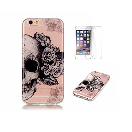 Price comparison product image For iPhone 6 Plus Case, iPhone 6S Plus Case [With Tempered Glass Screen Protector], Fatcatparadise(TM) Anti Scratch Transparent Soft Silicone Cover Case , Colorful Cute Pattern Ultra Slim Flexible Non-Slip Design TPU Protective [Crystal Clear] Shell Bumper Case Prefect Fit For iPhone 6 Plus / 6S Plus (Skull)