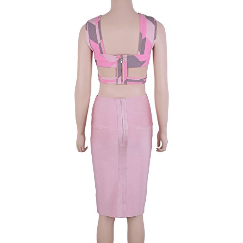 HLBandage Women's Two Piece Cut Out Hole Print Knee Length Rayon Bandage Dress Rose