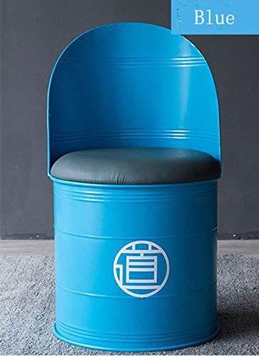 DEED Stuhl Hocker - Barhocker Öl Eimer Stuhl Industrial Wind Rückenlehne Stuhl Eisen Stuhl Retro Creative Einfache Adult Home Hocker,Blau -