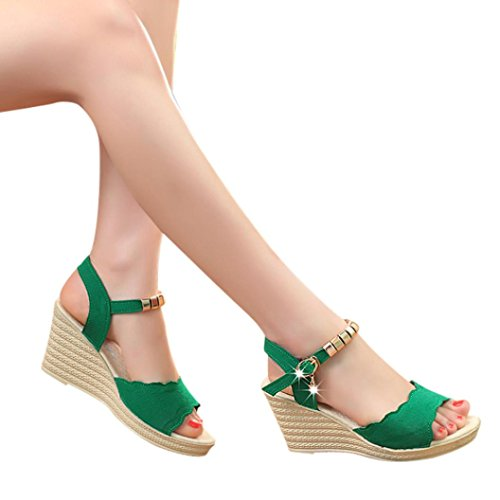 Beikoard promozione della moda sandali donna taco sandali con tacco alto con fibbia e sandali con tacco alto (verde, 39)