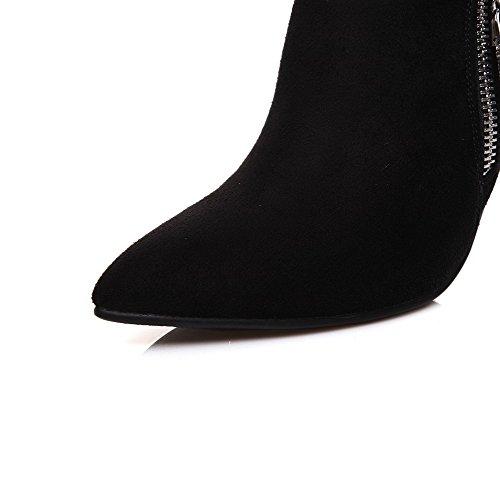 AgooLar Femme Stylet Dépolissement Couleur Unie Zip Pointu Chaussures Légeres Noir