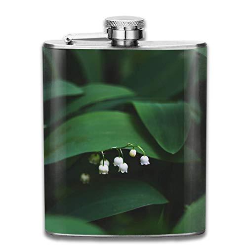 Miedhki Lily of The Valley Fashion Portable 304 Stainless Steel Leak-Proof Alcohol Whiskey Liquor Wine 7OZ Pot Hip Flask Travel Camping Flagon for Man Woman Flask Great Little Gift