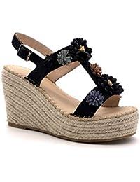 6190e286613a50 Angkorly - Scarpe Moda Sandali Espadrillas Romantico Vintage/retrò Zeppe  Donna Fiori con Paglia Tacco