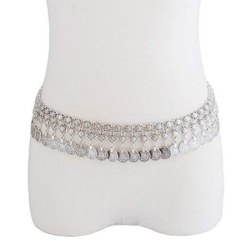 Yiph-Belt Gürtel Freizeit Silber Metall Piercing gürtel Boho sexy münze Taille Bauch körper Kette Taille Kette körperschmuck (Farbe : Silber, Größe : Free Size)