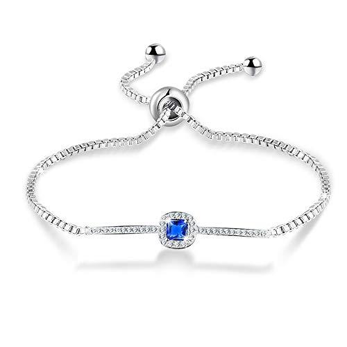nuoyang Armband Adjustable White Gold Einreihig Blue Square Diamant-Armband Trend Classic Female Armband Größe: 22cm * 4cm -