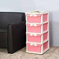 Nilkamal CHTR24 Four Layers Plastic Chest of Drawer (Pink and Cream)