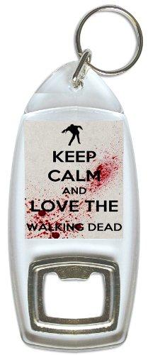 """Flaschenöffner 40 Geburtstag Mit (TWD inspirierter Flaschenöffner und Schlüsselanhänger in grau, mit """"Keep Calm und Love The Walking Dead""""-Aufschrift.)"""