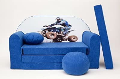 Kids Sofa Bed 3 In 1 Futon Childs Furniture+free Pouffe/footstool&pillow (c26)