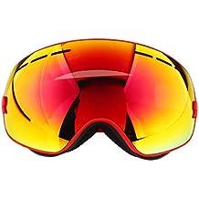 Relefree Gafas de Ski Gafas Antiniebla Gafas Anti-vaho Gafas para Esqui Gafas para Esquiar (rojo)