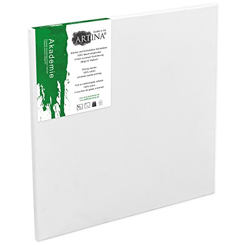 Artina Akademie - 10x10cm - Lienzo Blanco para Pintar - con Bastidor 280g/m²