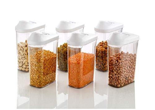 Machak Easy Flow Plastic Kitchen Storage Jars & Container Set, Transparent (6, 1100)