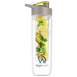 Premium Fruit Infuser Trinkflasche - Infuser Water Bottle, Wasserflasche mit Obst- und Gemüse Einsatz, Detox, Fitness & Sport, Ingwer, Gurke Zitrone & mehr, BPA frei - 800ml Kunststoff Flasche