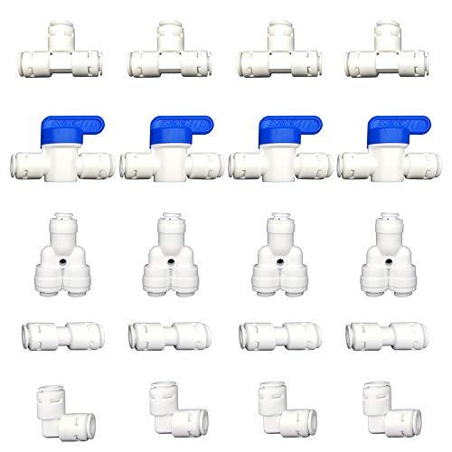 FUJIE 20 Stück Universal Anschluss-Set Adapter Fitting Verbindungsstück für 1/4 Zoll (6mm) Schlauch, Kühlschrankschlauch, Wasserschlauch (Y + T + I + L Typ + Absperrventil)