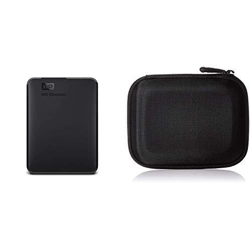 WD Elements Portable, Externe Festplatte - 1,5 TB - USB 3.0 - WDBU6Y0015BBK-WESN & AmazonBasics Festplattentasche, schwarz -