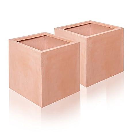 Terracotta Fibrecotta Cube Planters - 2x