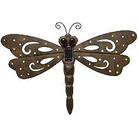 Gartenfigur Libelle aus Besteck und Granit Edelstahl Gartendekoration