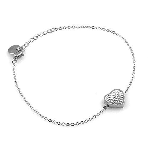 Preziosionline bracciale donna con cuore cuoricino in acciaio e strass lungo cm 21 pendenti mm 11