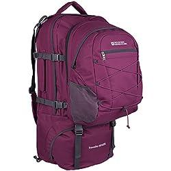 Mountain Warehouse Mochila Traveller 60 + 20 L - Mochila desmontable, mochila resistente, mochila con varios bolsillos - Para viajar, ir de acampada y hacer senderismo Morado Talla única