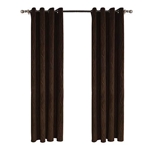 By-gg Fenster-Behandlungen Thermisch isolierte Verdunkelungsvorhänge Ösenvorhänge für Schlafzimmer (2 Stück),140x260cm - Datenschutz-boden-bildschirm