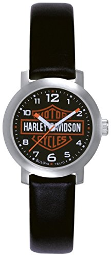 Harley Davidson Women's Quartz Watch with Black Dial Analogue Display and Black Leather Strap 76L10