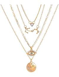 Youhuan - Collar con Colgante de Estrella y Cruz de múltiples Capas
